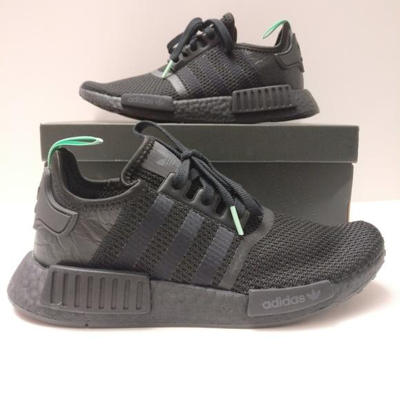 best service 46ae9 32d69 Womens Adidas Nmd R1 Mint Glow Black Green